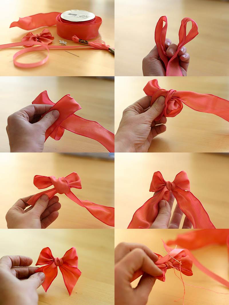 Как из атласной ленты сделать простой бантик из
